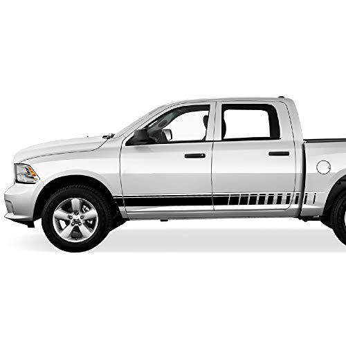 Bubbles Designs Set of Side Door Stripes Decal Sticker Graphic Compatible with Dodge Ram 2009-2016