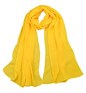 Alysee Women Classic Solid Chiffon Long Scarf Shawl Wrap Color Light Yellow