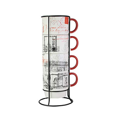 Cafe Kitchen (American Atelier Ceramic Mug & Rack Set – [4] 14-Ounce Cups & Standing Metal Rack for Kitchen Countertop, Tabletop, Island or Café Display – Perfect Gift for Tea & Coffee Lovers - Paris Design)