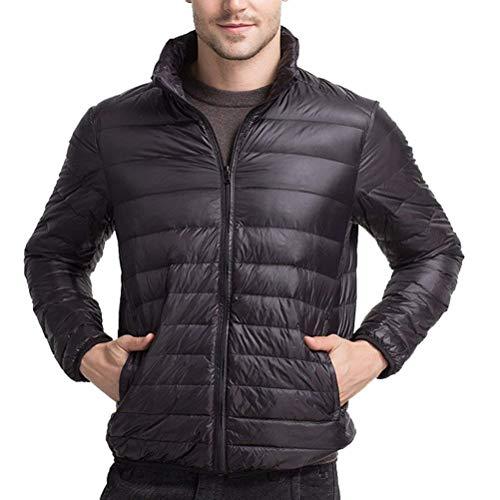 Down Negro De Jacket Lightweight Larga Outwear Mens Manga Estilo Abrigos Warm Abrigo Lanceyy Cuello Alto Boys Simple Winter Abrigo UfnqI1