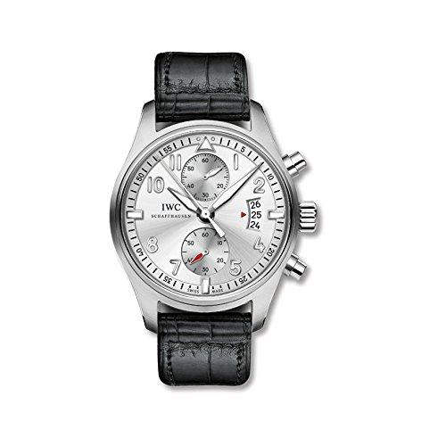 IWC Piloto Spitfire plata Dial Cronógrafo Negro Piel de cocodrilo Mens Reloj iw387809: Amazon.es: Relojes