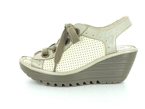 Mouche London Womens Yuta617fly Plate-forme Sandale Argent / Blanc Cassé