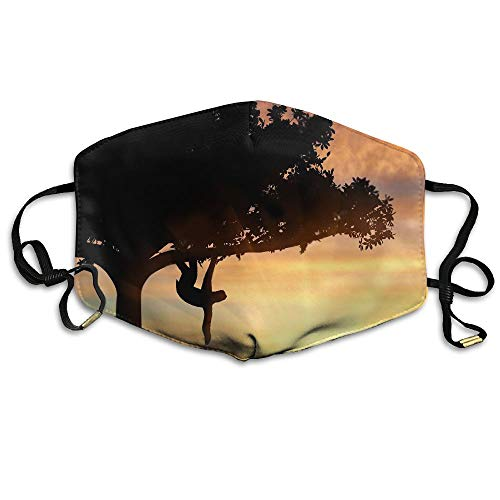 Sloth On The Tree Sunset Unisex Face Mask Earloop Dust Facemask Riding Reusable -