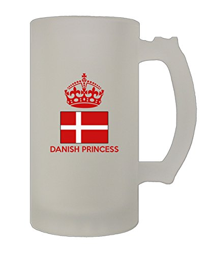 Danish Crown Princess (Danish Princess Crown 16 Oz Frosted Glass Stein Beer Mug)