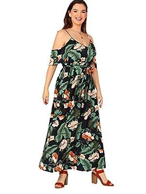Milumia Women's Plus Size Cold Shoulder Floral Slit Hem Tropical Summer Maxi Dress