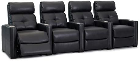 Octane Seating Cloud XS850 Home Theater Chairs – Black Bonded Leather – Manual Recline – Row 4 Seats – Space Saving Design