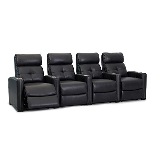 Octane Seating Cloud XS850 Home Theater Chairs - Black Bonded Leather - Manual Recline - Row 4 Seats - Space Saving Design ()