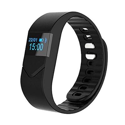 GOTD M5 Smart Wrist Band Sleep Sports Fitness Activity Tracker Pedometer Watch, Tiem Date Message Reminder, Blood Pressure Blood Oxygen Hear Rate, Calorie Distance, Black