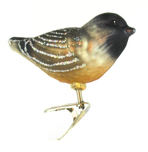 Old World Christmas Ornaments: Cheery Chickadee Glass Blown Ornaments for Christmas Tree 18068