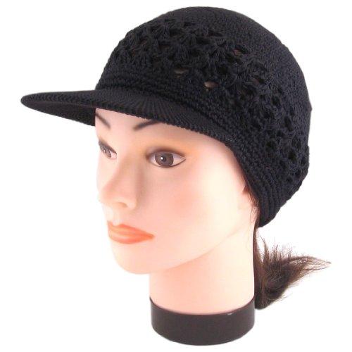 Visor Brim Knit Kufi Hat - Koopy Cap - Crochet Beanie with Brim (Black)