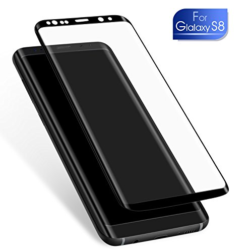 Galaxy S8 Screen Protector, Full Coverage, Anti-Scratch, HD Clear, 3D Curved Tempered Glass Film for Samsung Galaxy S8 (Not For Galaxy S8 Plus) (Black)