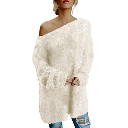 Women Long Sleeve Sexy Off Shoulder Sweater,Faux Fur Blouse Top Dress Lady (XL, Beige)