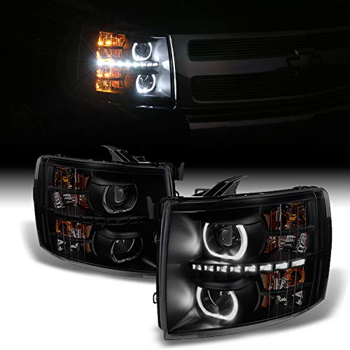 For Chevy Silverado Pickup Black Smoke Exclusive Halo Projector Ultra Bright SMD DRL LED Headlights