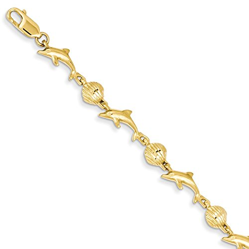 Roy Rose Jewelry 14K Yellow Gold Dolphin and Shell Bracelet ~ Length 7'' inches (Bracelet Yellow Gold Dolphin 7')