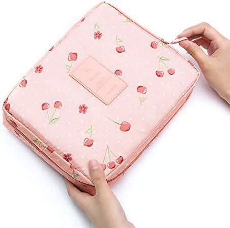 CYFC 多機能トラベルコスメティックバッグの女性のメイクアップバッグトイレタリーオーガナイザー防水女性ストレージメイクアップケースマルチ (Color : Pink cherry)