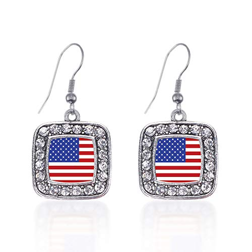 (Inspired Silver - American Flag Charm Earrings for Women - Silver Square Charm French Hook Drop Earrings with Cubic Zirconia Jewelry)