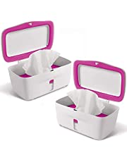 OXO TOT Perfect Pull Baby Wipes Dispenser, Pink - Set of 2 Diaper Wipe Holders