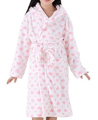 Roseate Girl's Plush Robe Soft Fleece Bathrobe Hooded with Pockets