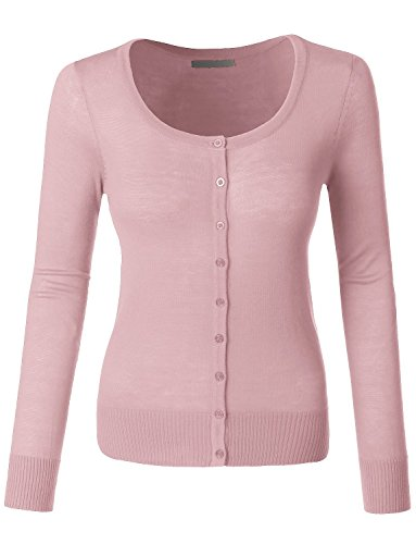 LE3NO Womens Lightweight Round Neck Fine Knit Cardigan Sweater With Stretch by LE3NO (Image #7)