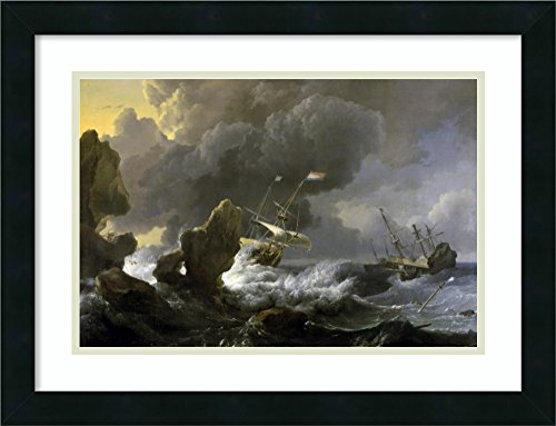 Framed Art Print 'Dutch Merchantmen Driven onto a - Ship In Storm Art