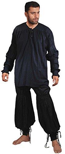 Medieval Renaissance Pirate Swordsman Pants Costume [Black] (X-Large)