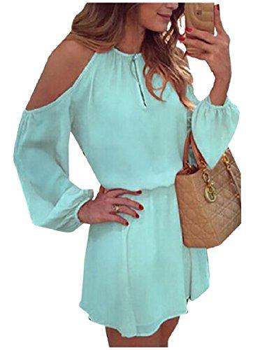 Coolred-femmes En Mousseline De Soie De Découper Tunique Épaule Bleu Lâche Ciel Robes Courtes