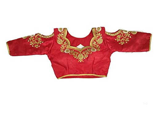 REKHA Ethnic Shop Red Blouse Full Stitch Blouse Blouse with Cups Saree Blouse A828 (Women Red For Sarees)