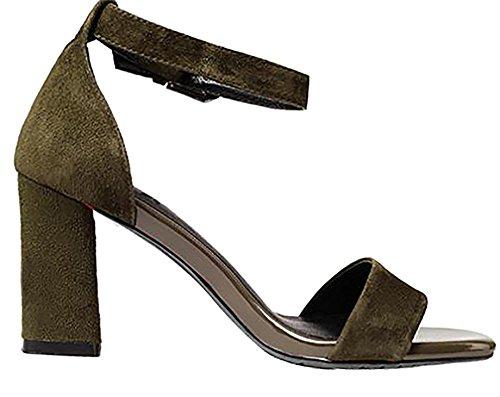 Shoes Capig Toe Green Sandals Heel Buckle Block Open Women 6CM Calaier UnPZzxq