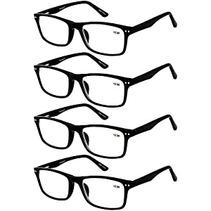 Eyecedar 4-Pack Reading Glasses Men Flexible Material Black Rectangle Frame Metal Spring Hinges Include Cloth Pouch Readers 2.00
