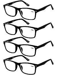 4-Pack Reading Glasses Men Flexible Material Black...