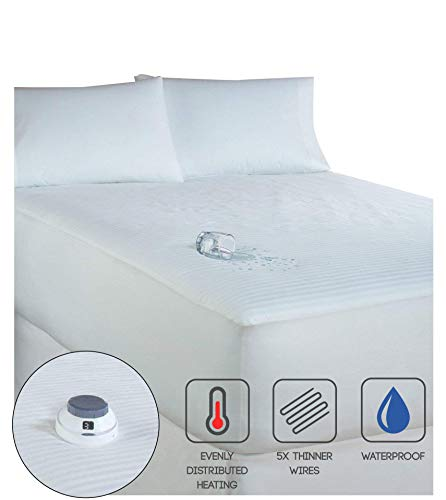 Serta | Smart Heated Waterproof Mattress Pad with Safe & Warm Low Voltage Technology, 233 Thread-Count (Queen) (Serta Heated Mattress Pad)