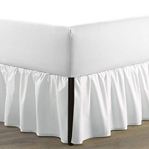 Sleepwell White Solid, Queen Size Ruffled Bed Skirt 15 inch Drop Split Corner,100 Percent Pure Egyptian Cotton 400 Thread Count, Wrinkle & Fade Resistant