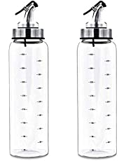 only fire 17 Oz Oil and Vinegar Dispenser Set Cruets Glass Lead-Free Glass Bottle with Degree Scale for Kitchen Cooking, 2 Pack