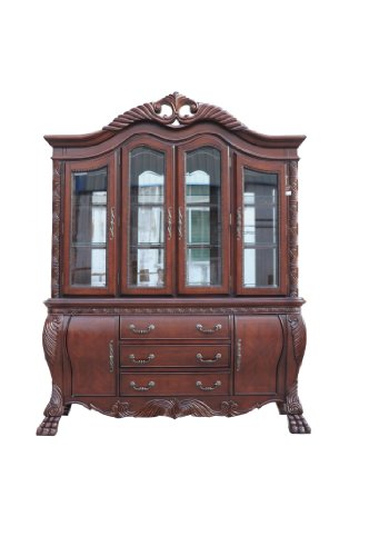 ACME 60270 Quinlan Hutch and Buffet China Cabinet, Cherry Finish (Cabinet Finish Cherry China)