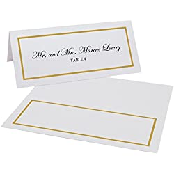 Documents and Designs Single Line Border Easy Print Place Cards (Select Color/Quantity), Pearl White, Gold, Set of 75 (13 Sheets)