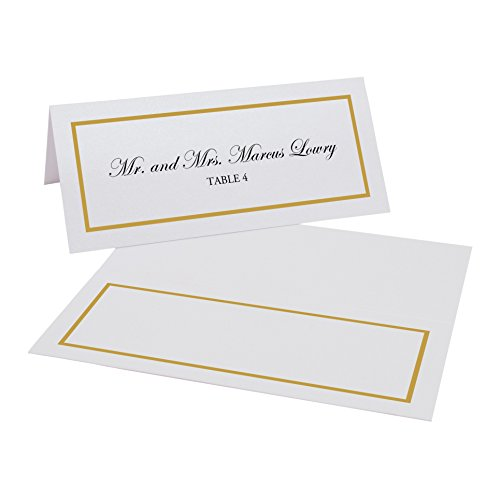Documents and Designs Single Line Border Easy Print Place Cards, Gold, Set of 60 (10 Sheets)