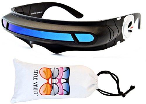 Kd245-vp Kids (3-9yrs) Futuristic Plastic Sunglasses (B3230F Black-Blue Mirror, - Futuristic Goggles