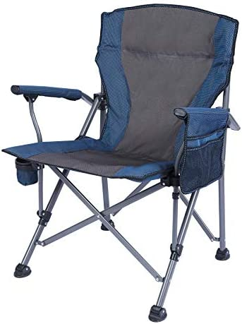 REDCAMP Oversized Folding Camping Chairs for Adults Heavy Duty 500lb, Sturdy Steel Frame Portable Outdoor Sport Chairs with High Back and Hard Arms, Blue and Camouflage