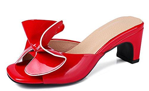 mujer Aisun pierna para rojas sandalias Elegante resbalón a media en Mule tacones AwOTEqTtx