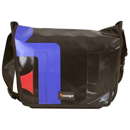 Borsa messenger bag a tracolla in tela cerata impermeabile