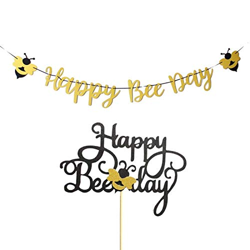 Glitter Gold Happy Bee Day Banner Boy Girl Bumble Bee Theme Birthday Party Cake Topper
