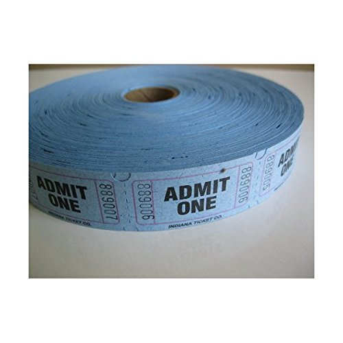 2000 Blue Admit One Single Roll Consecutively Numbered Raffle Tickets