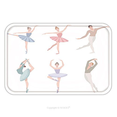 Tutus Australia (Flannel Microfiber Non-slip Rubber Backing Soft Absorbent Doormat Mat Rug Carpet Set Of Ballet Dancer Vector Illustration In Flat Style Girl And Guy In Tutu Dress Different 609211061 for Indoor/Outdoo)