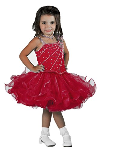 SanLing Little Girls' Single Shoulder Cupcake Pageant Dress Child-2 Red by Sanling