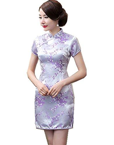 Maritchi Women's Sexy Floral Mini Chinese Evening Dress Cheongsam China Wedding Clothes (4(ChineseM), Purple)