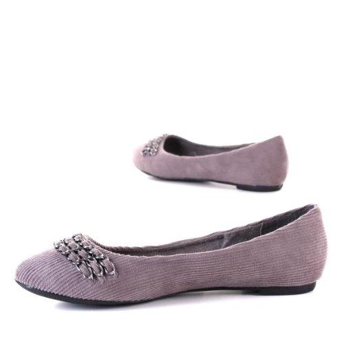 Scarpe da donna, ballerine, 0439, in tessuto, colore grigio, 36 Gr