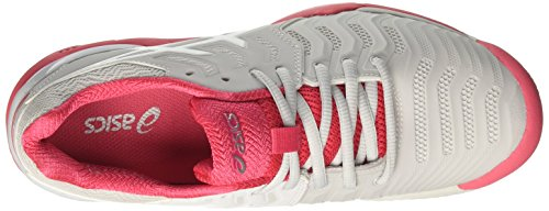 Asics Gel-Resolution 7 Clay, Zapatillas de Tenis Mujer Gris (Glacier Grey/white/rouge Red)