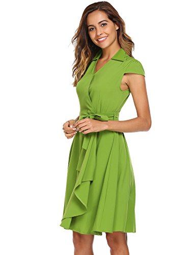 ANGVNS Women's Wrap Dresses Cap Sleeve V-neck Vintage Style Swing for Party With (Cap Sleeve Vintage Cap)