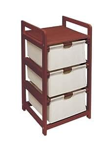 Badger Basket Company Three Drawer Hamper/Storage Unit in Cherry, Garden, Lawn, Maintenance