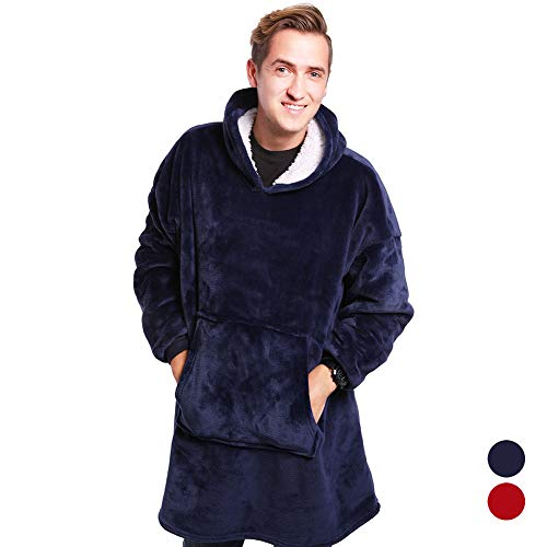 Heartbeat Plush Hoodie Ultra Plush Blanket Flannel Hoodie One Size Fit All,Warm, Soft, Cozy Sherpa Blanket Sweatshirt, Men Women Winter Soft Warm Coats - As Seen On TV (Hoodie Flannel Reversible)